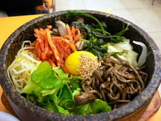 Bibimbap is is one of famous Korean cuisine.Bibimbap is Korean mixed rice with vegetables and it tastes a little sweet and sour,Bibimbap recipe,Bibimbap history Korean Food Bibimbap, Asia Food, Asian Recipes, Healthy Recipes, Korean Dishes, Korean Rice, Tasty, Yummy Food, Korean Recipes