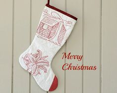 Christmas Stocking Vintage Quilt 1920s Red Work by CUSHgoods