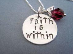 Hand stamped necklace faith is within sterling silver by marybeadz, $30.00