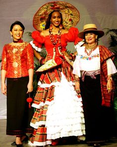MISS JAMAICA WORLD 2013 is GINA HARGITAY - Center - in Traditional Costume - luv the straw embroidery inside the hat.