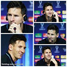 Lionel Messi : Leo durante entrevista coletiva após a conquista da Supercopa da Europa.  Bom dia à todos | yolepink