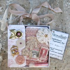 Inspiration Kit, Embellishment Box 42...Pink Blush vintage & contemp. adornments...Gift Kit... collage, crazy quilting, mixed media supplies