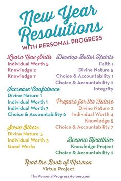 30 NYE Resolutions Everyone Can Try The Personal Progress Helper: New Year Resolutions with Personal Progress Young Women Handouts, Young Women Lessons, Young Women Activities, Personal Progress Projects, Personal Progress Activities, Personal Progress Motivators, Mutual Activities, Lds Youth, New Year Goals