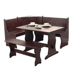 TGDMshop Table and Chairs/Wood Dining Corner Style Long Side for L-Shape Dimension 64 x 20 x 34 inches Espresso Color Set of 3 Dining Set With Bench, Nook Dining Set, 3 Piece Dining Set, Dining Room Sets, Dining Room Furniture, Dining Area, Office Furniture, Furniture Sets, Corner Table