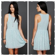 Free People Blue Reversible Dot Dress medium $50 Originally $50 on the official Free People website. So cute!!! Free People Dresses Mini