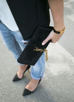 Zara blazer, jeans & heels Mango top Saint Laurent clutch