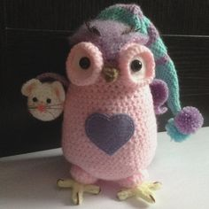 Crochet Owl Amigurumi Stuffed Animal Pink And Purple by BABUKO