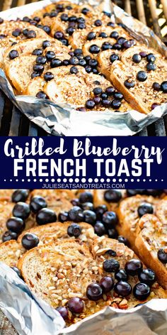 Delicious French Toast made on your grill! This Blueberry French Toast is grilled so you don't have to heat up your kitchen and can make it while camping over a campfire too! The hint of cinnamon and juicy blueberries and crunch pecans will make this your French Toast Cereal, Blueberry French Toast, French Toast Bake, Delicious Breakfast Recipes, Brunch Recipes, Dessert Recipes, Muffin Recipes, Dessert Ideas, Yummy Recipes