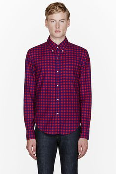 BAND OF OUTSIDERS //  Red check button down shirt  32150M040008  Long sleeve shirt checkered in red and blue. Spread button-down collar. Button closure and breast pocket at front. Shirttail hem. Tonal stitching. Adjustable single-button barrel cuffs with buttoned sleeve placket. 100% cotton. Machine wash cold. Made in United States.  $325 CAD