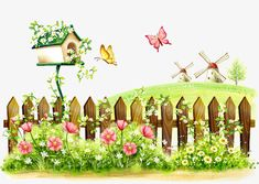 Fence Scenery Kids' Room Wall Mural, By - Childrens Wall Decor Hydrangea Landscaping, Landscaping Edging, Landscaping Around Trees, Murals For Kids, Cartoon Wall, Spring Landscape, Spring Painting, Spring Day, Photo Backgrounds