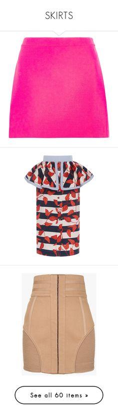 """SKIRTS"" by ariellegoosenberth ❤ liked on Polyvore featuring skirts, mini skirts, bottoms, versace, saias, fuchsia, a line mini skirt, neon pink mini skirt, pink skirt and short a line skirt"