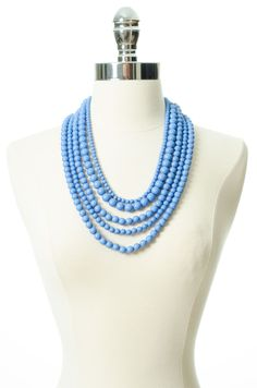 Light Blue Beaded Necklace - perfect for a UNC game.