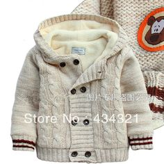 Autumn winter child cardigan Hooded sweater 100% cotton thickening coat jacket brand baby boy knitting sweater FREE SHIPPING  $19.98