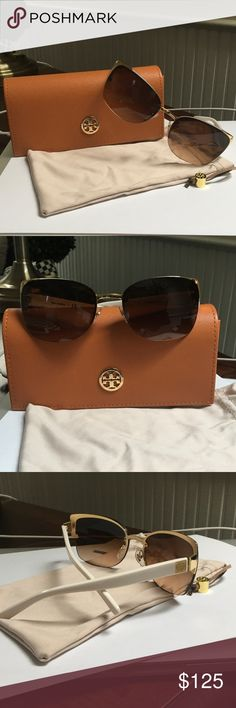 NEW Tory Burch Sunglasses NEW, never worn, square sunglasses.  White and Gold.  Original Tory Case and pouch.  Feature a retro-chic shape updated with modern details.  Purchased May, 2017.  $195 Tory Burch Accessories Sunglasses