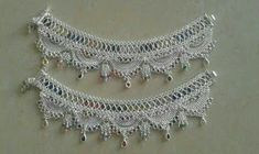 Silver anklets Payal Designs Silver, Silver Anklets Designs, Silver Payal, Anklet Designs, Necklace Designs, Silver Jewellery Indian, Gold Jewellery Design, Silver Jewelry, Anklet Jewelry