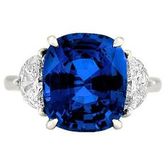 7.86 Carat Ceylon Blue Sapphire Diamond Engagement Ring ($45,000) ❤ liked on Polyvore featuring jewelry, rings, diamond engagement rings, engagement rings, blue sapphire engagement rings, blue sapphire ring and diamond jewellery
