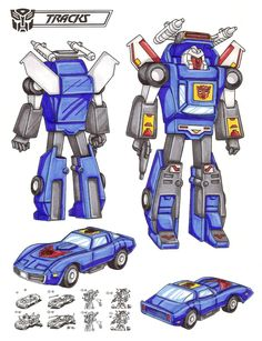 """Tracks Called """"lousy Earth-lover"""" by some fellow Autobots because he prefers sleek Earth car form to original robot form. Thinks they're jealous of his good looks but they feel struggle against Decepticons should be his top concern. As car goes 280 MPH...uses wings under rear fenders for sub-sonic flight. As car or robot uses launcher to fire heat-seeking incendiary missiles 60 miles. Has blinding black beam gun. This photo was uploaded by TransformersArkColor"""