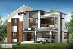 2501 square feet 4 bedroom modern house design (Kerala home design) House Outside Design, House Front Design, Cool House Designs, Modern Bungalow Exterior, Bungalow House Design, Minimalist House Design, Modern House Design, Small Contemporary House Plans, Flat Roof House