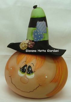 Cute witch head made from gourd.