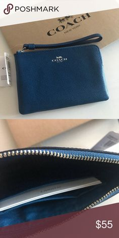 1f0b6b0f301e8 🎉SALE🎉 Coach Mineral Blue wristlet   giftbox NWT Authentic Coach  wristlet. Color in Bright Mineral Blue Zip corner wristlet. Inside has two  card slots.