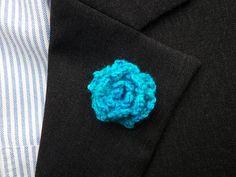 Blue Rose Lapel - Blue Lapel Flower - Blue Boutonniere - Rose Boutonniere - Wedding Lapel Rose - Blue Lapel Button - Rose Lapel Button by KenBoutonniere on Etsy