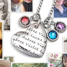 LifeNames PagePendant Heart features Your Children's Names and Birthstones! Through May 6th, 2015, use code PIN50 and Save $50!