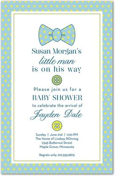 Boy Baby Shower Invitations, Simple Baby Bow