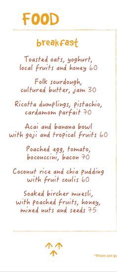 Folk Kitchen & Espresso, Ubud Menu