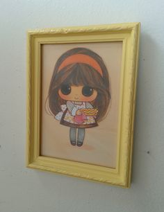 Framed Vintage Print in Pale Yellow - Big Eyed Girl with Pie