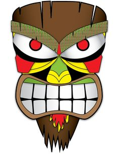Tiki Face 1 by TwinkieTheKid on deviantART - Modern Tiki Tattoo, Tiki Maske, Palm Frond Art, Palm Fronds, Tiki Faces, Tiki Statues, Tiki Totem, Tiki Art, Tropical Party