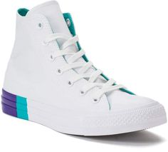 Go for a twist on a classic with these women's Converse Chuck Taylor All Star high top shoes. Cheap Converse Shoes, Outfits With Converse, Converse Sneakers, Converse High, White Converse, Top Shoes, Lace Up Shoes, Men's Shoes, White High Top Sneakers