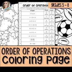 Order Of Operations Coloring Page Worksheets Math Teacher, Teaching Math, Teacher Stuff, Math Resources, Math Activities, Algebra 1 Textbook, Sixth Grade Math, I Love Math, Order Of Operations