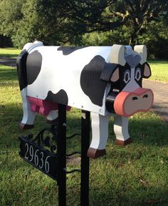 Handmade Cow Mailbox by CutsNCrafts on Etsy