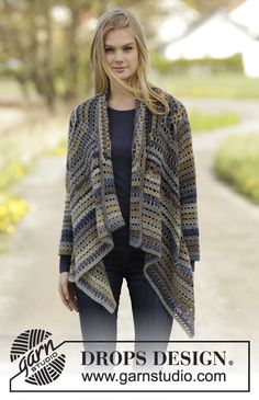 """Crochet DROPS jacket worked in a square in """"Delight"""". Size: S - XXXL. ~ DROPS Design"""