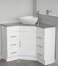 Photographic Gallery Could work in the bathroom it would give more space Corner Caesarstone top vanity