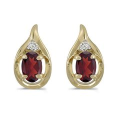 14K Yellow Gold Oval Garnet and Diamond Earrings (1ct tgw)