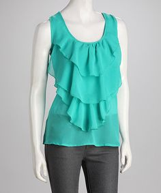 Take a look at this Jade Crochet-Back Chiffon Ruffle Tank by Panitti on #zulily today!