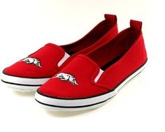 Adorable Canvas Boat Shoe - University of Arkansas - Embroidered Hog | eBay. Love these