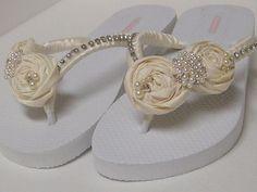 Ivory Bridal Flip Flops / Wedding Satin Flip by RossyAccesorios, $36.99