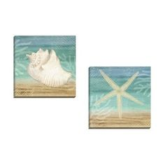 Portfolio Canvas Decor Beth Albert 'Aqua Starfish' Framed Canvas Wall Art (Set of 2) - Free Shipping On Orders Over $45 - Overstock.com - 17290632 - Mobile