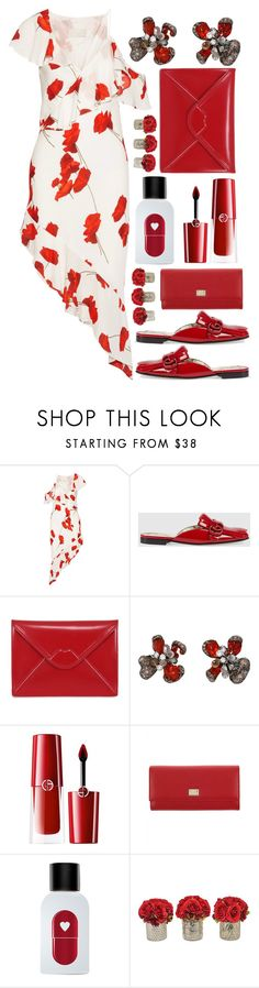 """""""Red and white"""" by sunnydays4everkh ❤ liked on Polyvore featuring Michelle Mason, Gucci, Lulu Guinness, Arunashi, Giorgio Armani, Dolce&Gabbana, The Fragrance Kitchen and The French Bee"""