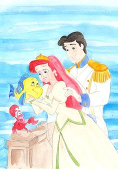 Watercolor painting of Ariel and Prince Eric, from the Disney movie The Little Mermaid.. $20.00, via Etsy.