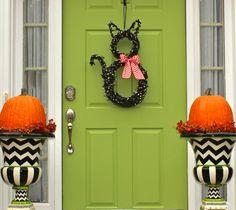 Halloween Wreath - Cat Wreath - Original Wreath - Fall Wreath - Autumn Door Decor by EverBloomingOriginal on Etsy
