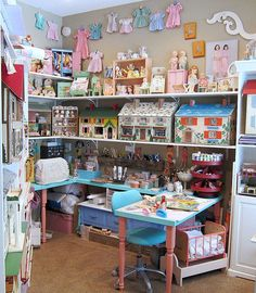 Corey Moortgat- Collage Artist: Newest Studio Remodel Shabby Chic, Craft Room Storage, Craft Rooms, Toy Display, Curtain Styles, Reborn, Space Crafts, Craft Space, Girl Decor