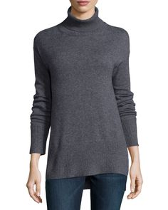 Cashmere Turtleneck with Side Slits, Size: SMALL, Blue - Neiman Marcus Cashmere Collection