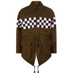 DSquared2 Oversized Check Panel Parka Jacket ($1,870) ❤ liked on Polyvore featuring men's fashion, men's clothing, men's outerwear, men's jackets, mens utility jacket, mens summer jackets, mens parka jacket and mens safari jacket