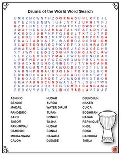 Drums of the World Word Search Puzzle  ♫ This Word Search Puzzle contains 30 different drums from around the world.  ♫ An ANSWER key is provided. ♫ CLICK through to preview or save for later!   ♫