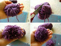 How to make pom pom flowers / como hacer flores pom pom. Pom Pom Flowers, Yarn Flowers, Pom Poms, Pom Pom Crafts, Yarn Crafts, Crafts For Teens, Diy Crafts To Sell, How To Make A Pom Pom, Crochet Amigurumi