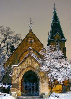 Beautiful old church covered in white frost beneath a calm & cold sky!