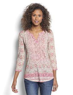 718759bbf361ac Women s Slub-Knit Pattern Tee   Mixed-Print Slub-Knit Tee